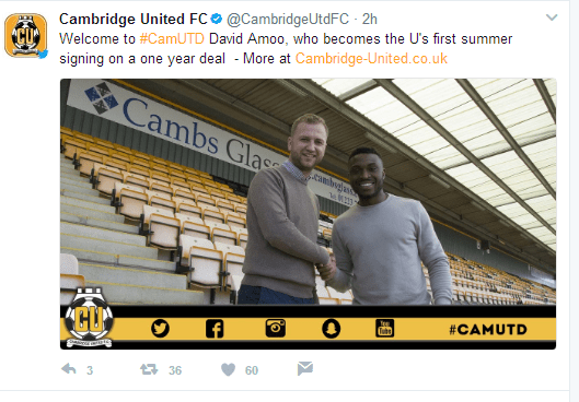 Official- David Amoo Becomes Cambridge United First Summer Signing 10