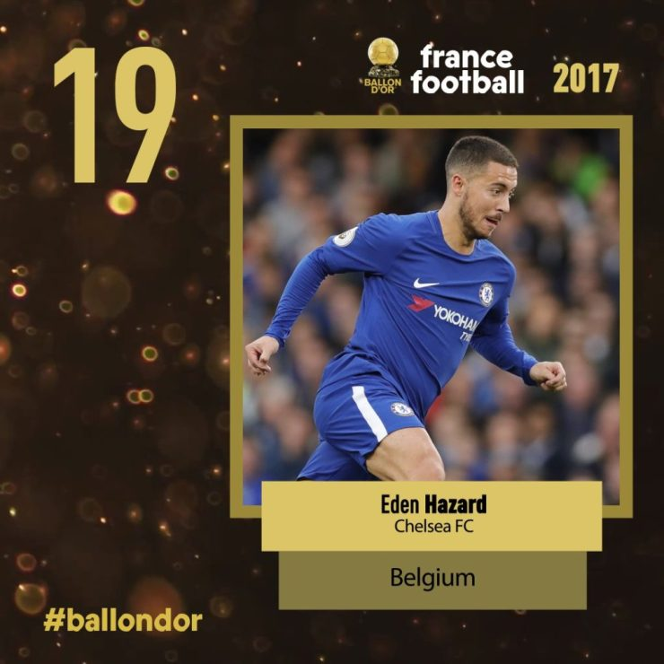 Chelsea Fans Fume Bitterly Over Hazard's Shocking Ballon d'Or Ranking 12