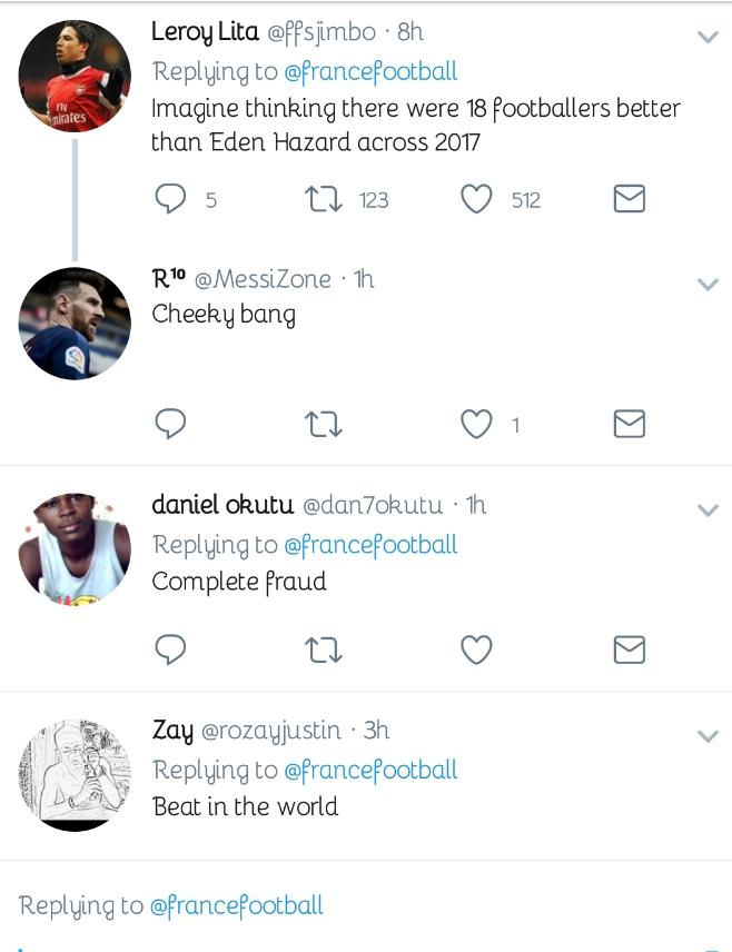 Chelsea Fans Fume Bitterly Over Hazard's Shocking Ballon d'Or Ranking 13