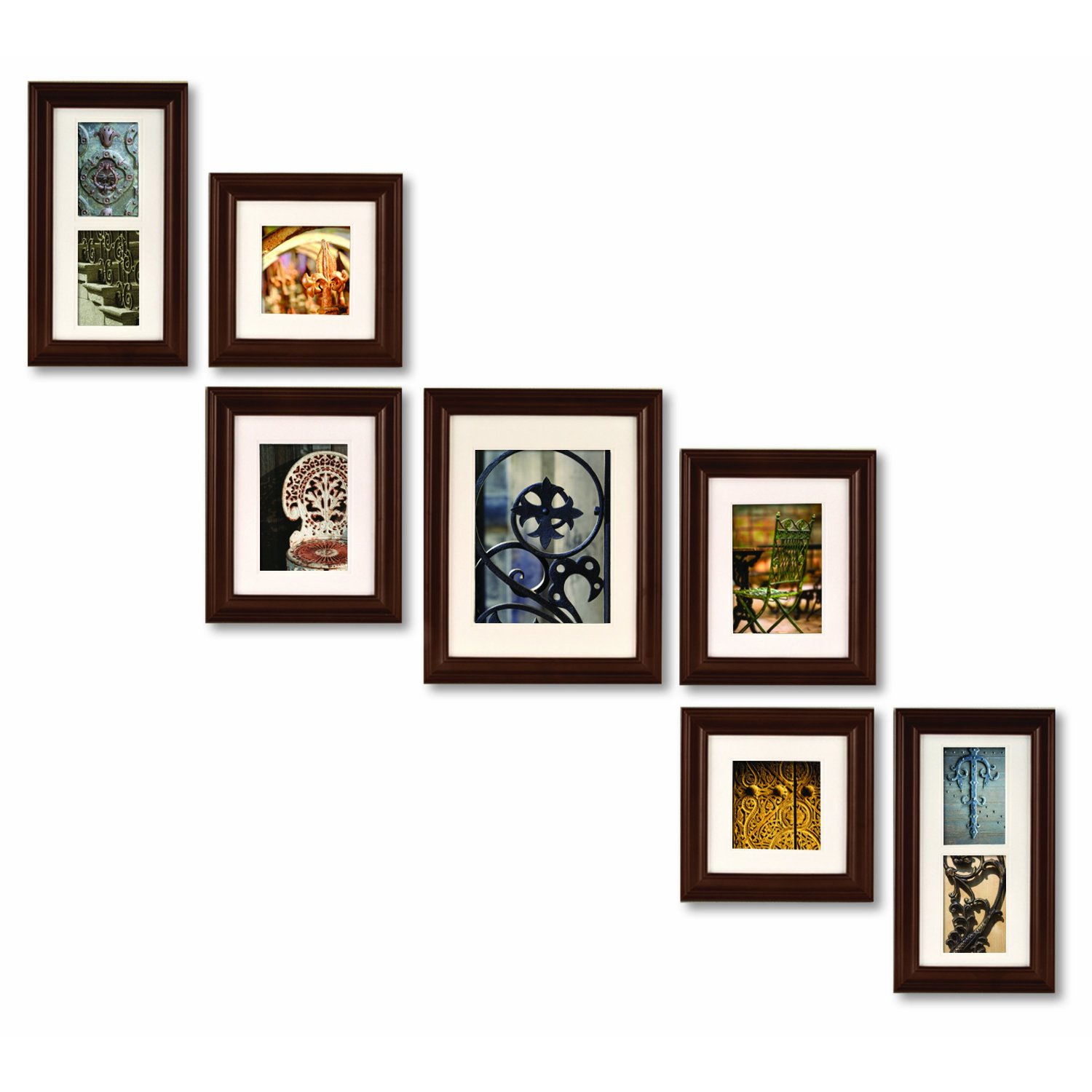 Amazon: Pinnacle Frames and Accents 7-Piece Photo Frame Set, Walnut ...