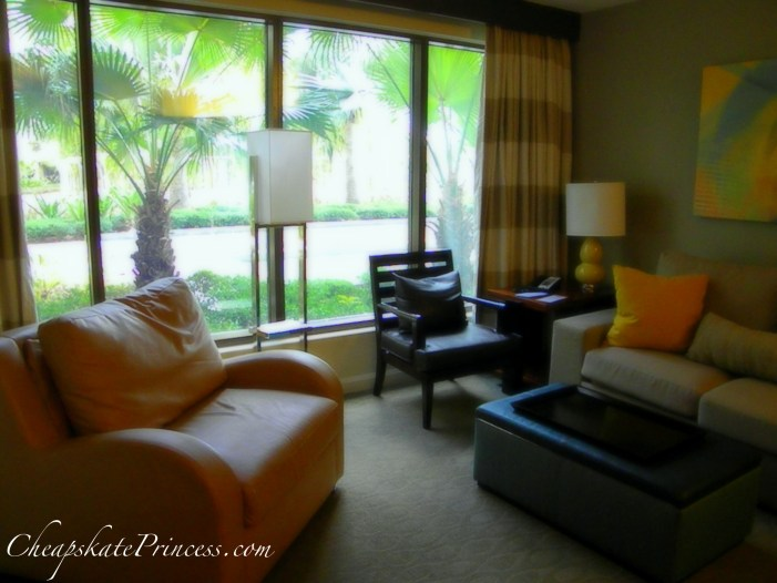 Bay Lake Tower Living Room, Disney living room, great Disney resorts, love Disney resorts, Disney Princess Resort, Disney sleeper chair, Disney sleeper couch
