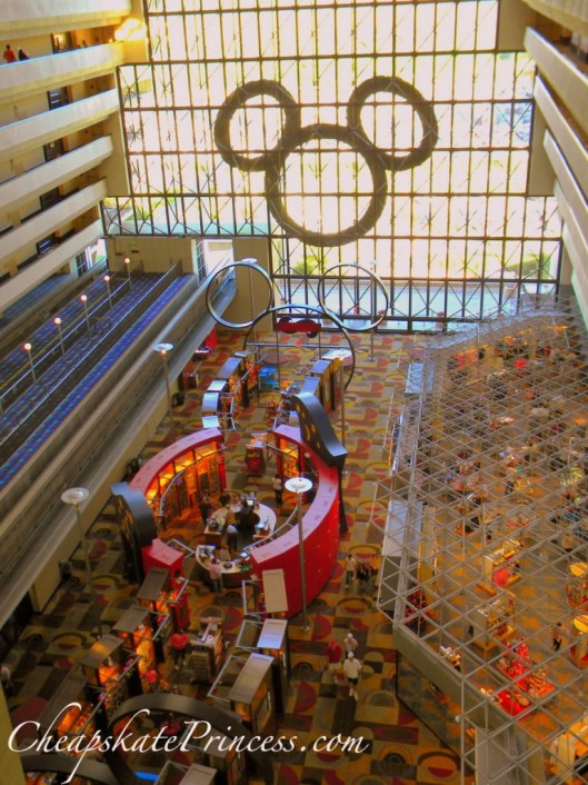 Contemporary Resort Lobby at Christmas, window shop at Disney, Christmas decorations, Disney Moms, Disney Princess,