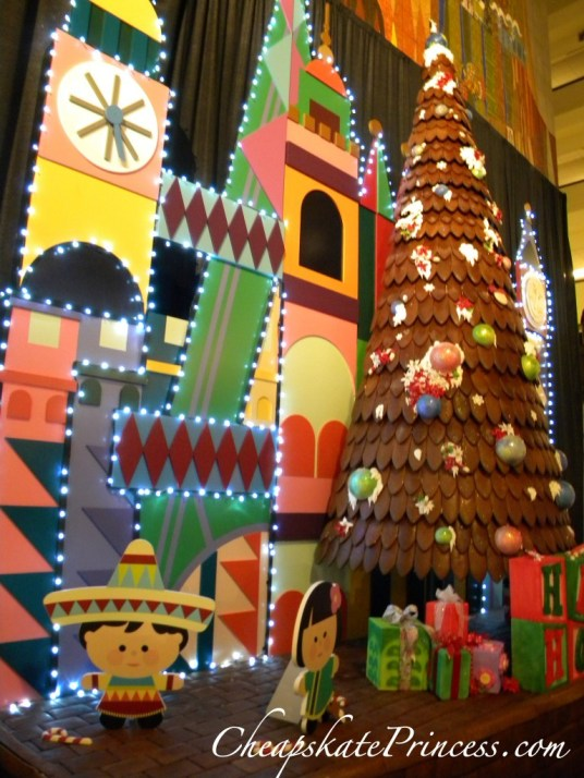 Mary Blair christmas decoration, gingerbread tree, gingerbread, Contemporary Resort gingerbread display