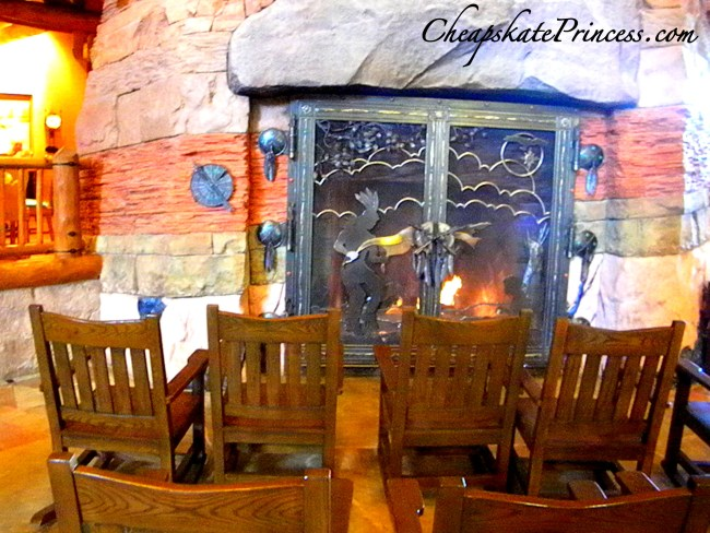 Disney Wilderness Lodge Fireplace and rocking chairs