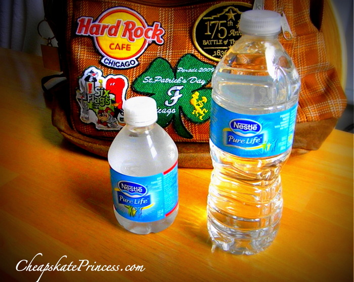 bring bottled water for a Disney World vacation