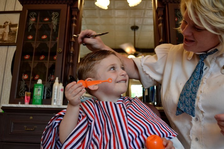 Blowing bubbles at the Harmony Barber Shop