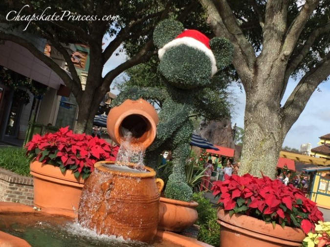 Disney Springs at Christmas Mickey topiary