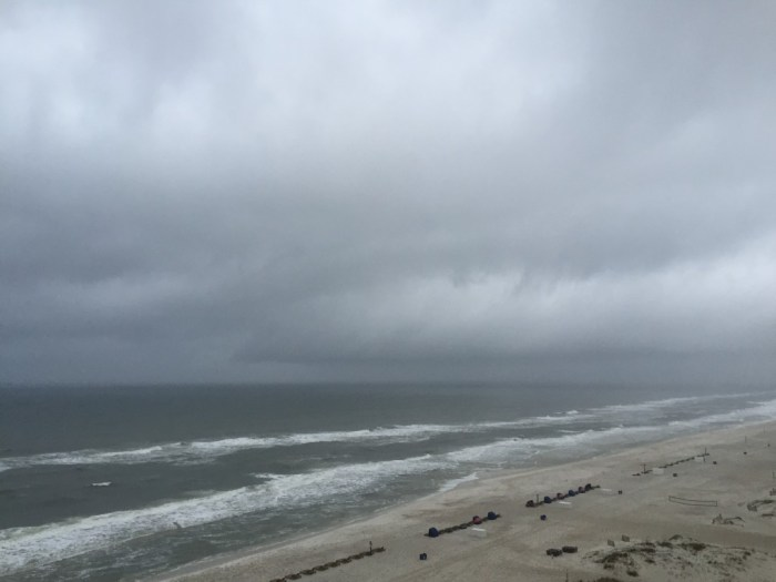 rain at the Gulf Shores beach