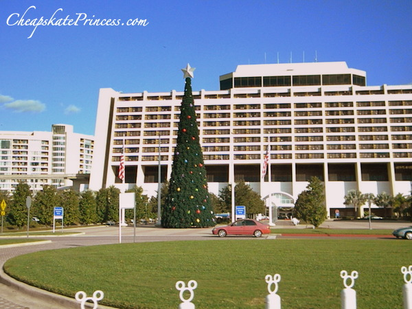 Christmas tree in front of Disney's Contemporary Resort hotel