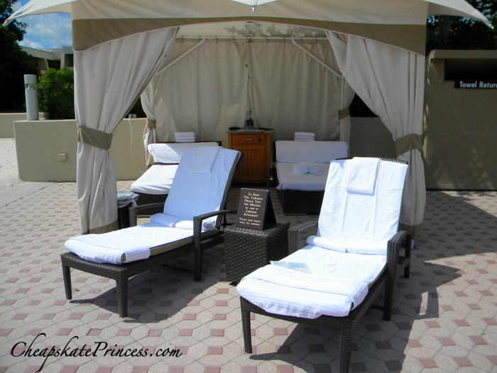 lounge by the pool in a cabana at Disney's Contemporary Resort