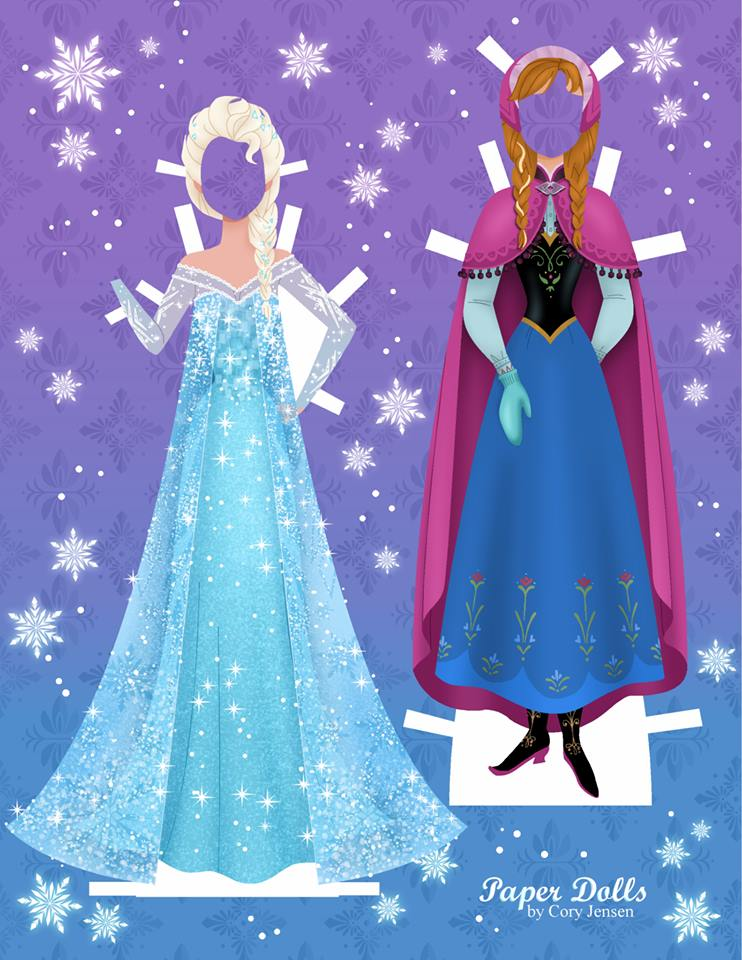 Anna and Elsa Disney paper dolls