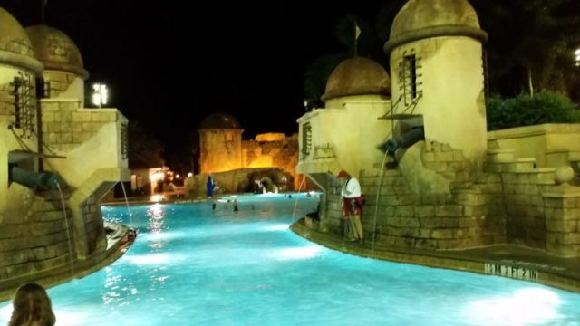 Caribbean Beach Main Pool at Night