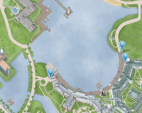 Boardwalk smoking location map at Disney World