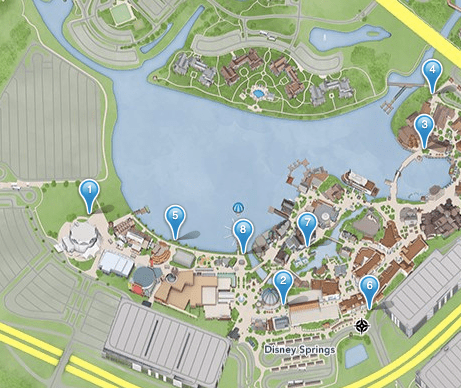 Disney Springs smoking location map