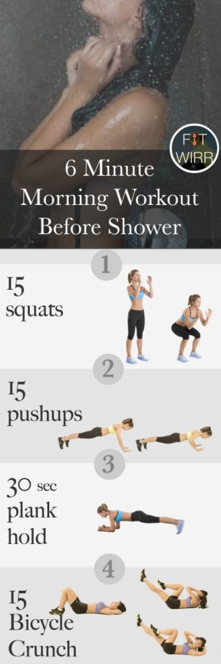5 minute morning workout before shower