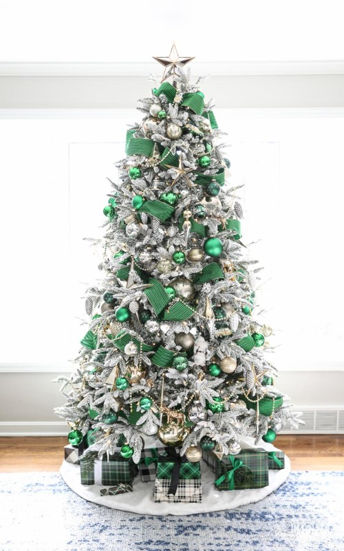 silver and emerald christmas tree