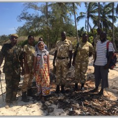 Beach patrol with kws rangers , Fazeela and community scouts