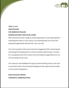 Kenya Wildlife Service Press Release