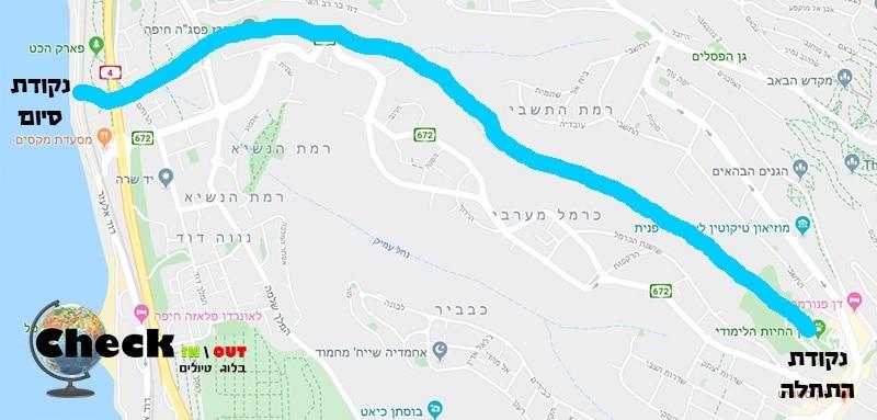 מפה מסלול טיול נחל לוטם חיפה