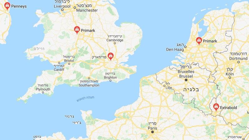 מפת סניפים של פריימרק באירופה