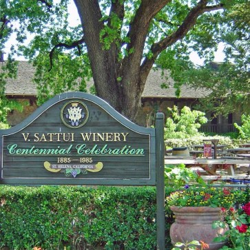 V. Sattui Winery sign and picnic area