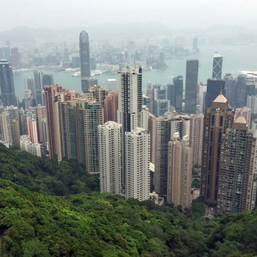 View From Sky Terrace 428 on top of Peak Tower on Victoria Peak - Hong Kong Island, Hong Kong, China