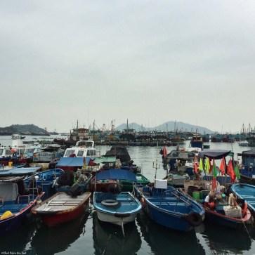 Boats in Cheung Chau's harbor - Hong Kong, China