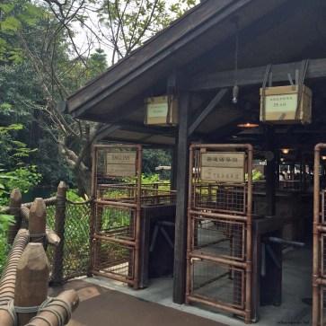 Jungle River Cruise ride entrance with English speaker line in Adventureland - Hong Kong Disneyland, Hong Kong, China
