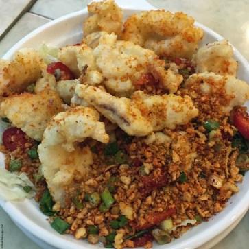 Salt and pepper squid at Lung Wah Seafood Restaurant in Yung Shue Wan, Lamma Island - Hong Kong, China