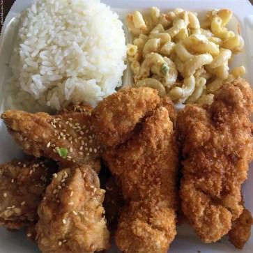 Plate Lunch with Korean chicken, chicken katsu, rice, and macaroni salad at Kawaihae Kitchen - Kawaihae, HI