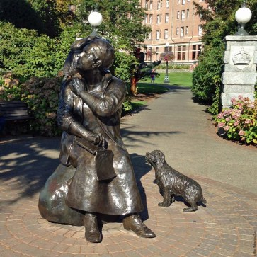 Artwork and statues, such as this one of Emily Carr, are found throughout Victoria - British Columbia, Canada