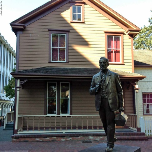 Dr. John Sebastian Helmcken statue in front of Helmcken House - Victoria, British Columbia, Canada