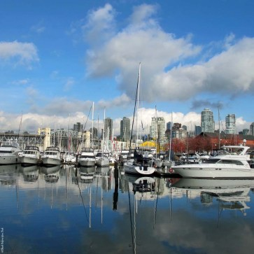 Boats in the harbor along Island Park Walk - False Creek, Vancouver, British Columbia, Canada
