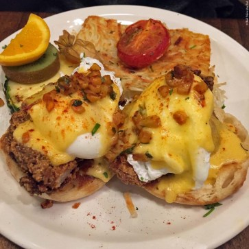 Fried Chicken Benedict at Jam Cafe - Vancouver, British Columbia, Canada