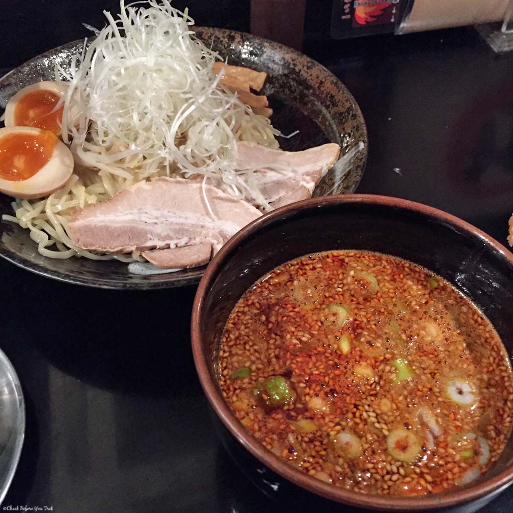Tsukemen noodles and spicy broth at Bakudanya - Hiroshima, Japan