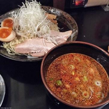 Tsukemen noodles and spicy broth at Bakudanya - Hiroshima, Japan