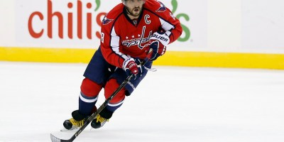 Washington Capitals left wing Alex Ovechkin (8), from Russia, skates with the puck in the third period of an NHL hockey game against the Boston Bruins, Thursday, Nov. 5, 2015, in Washington. The Capitals won 4-1. (AP Photo/Alex Brandon)