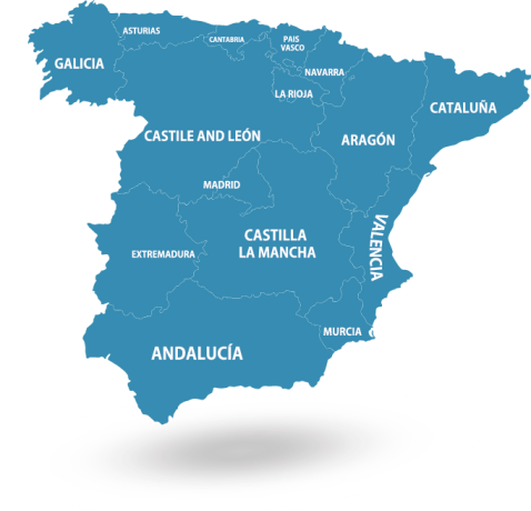 Spain map - with regions