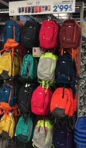 Decathalon backpacks on display