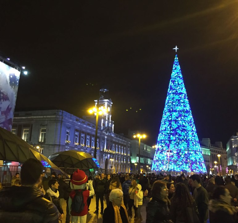 crowds for the holidays in Madrid Spain