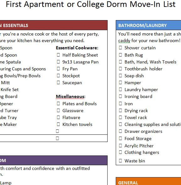 First Apartment Move Checklist