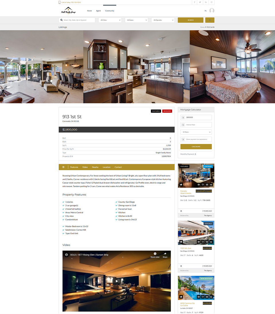 Hall Real Estate Home Listing Page