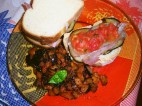trittico toast, crostone e contorno di melanzane e acciughe