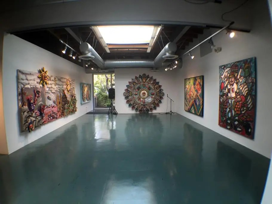 A Peek into Chicano Art Exhibit Art Gallery View featuring cheech marin collection