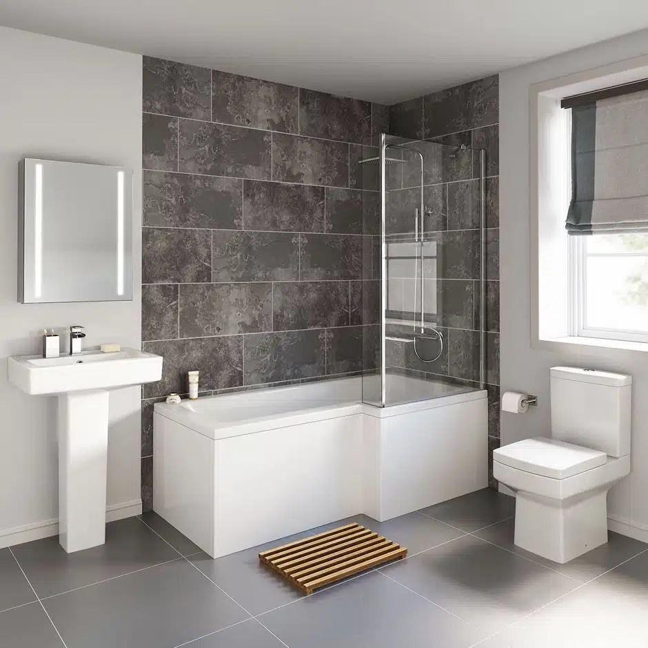 Cheeky Bathrooms - Modern Bliss L Shaped Shower Bathroom Suite on Bathroom Apartment Ideas  id=82501