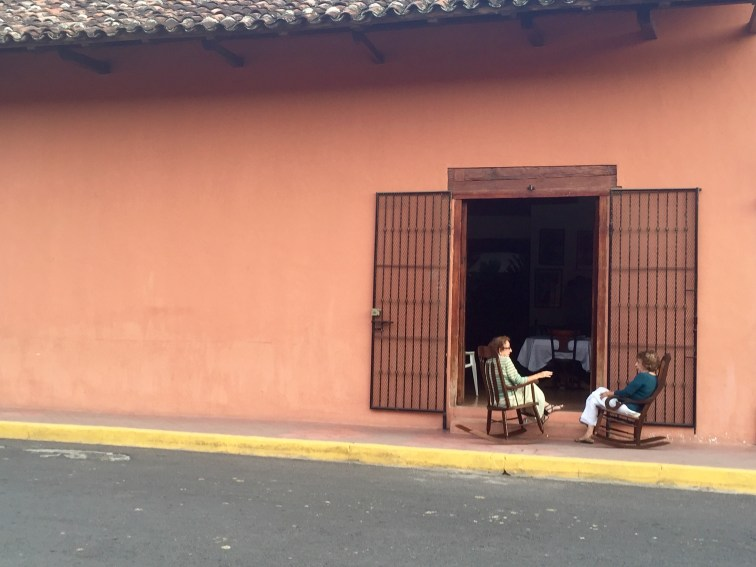 rocking chairs on calle in Granada Nicaragua