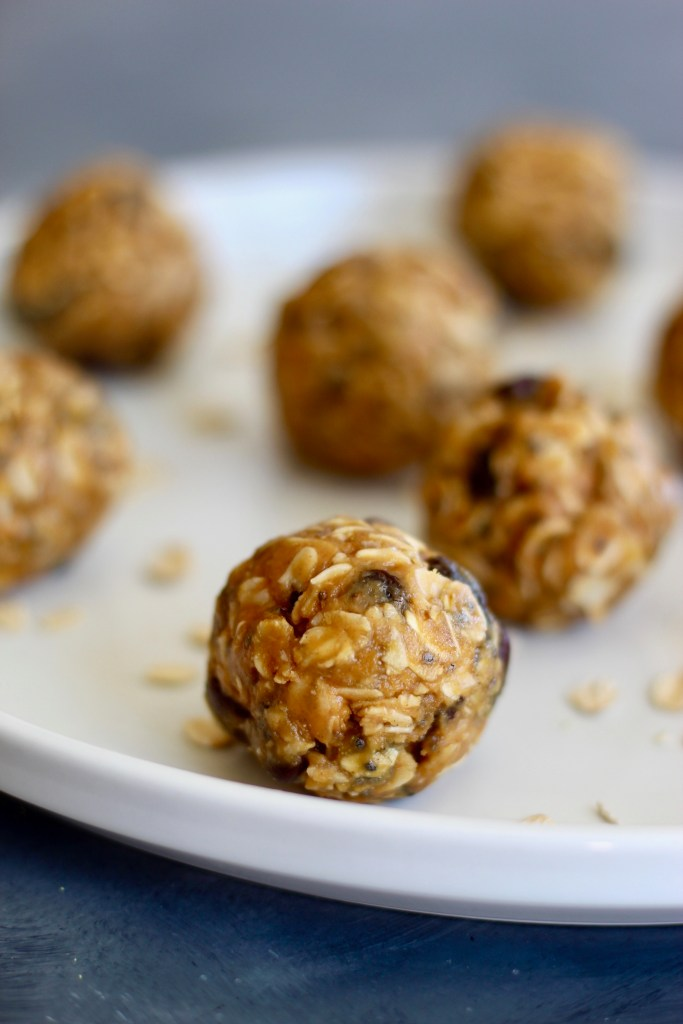 Close up of rolled oats energy bites