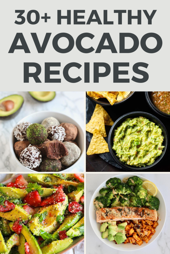 Calling all avocado lovers! From creamy salads to chocolate truffles–here is a list of over 30 healthy avocado recipes to satisfy both sweet and savory cravings. #AvocadoLovers #HealthyRecipes #NationalAvocadoDay #Sweet #Savory