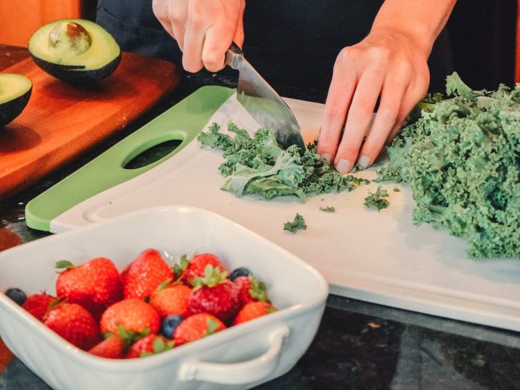 Chopping kale with a Chef's knife