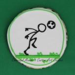 Soccer stick figure heading ball cookie